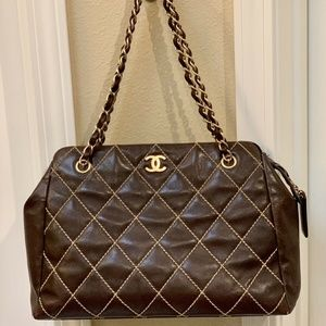 Vintage CHANEL Wild Stitch Brown Calf Skin Leather